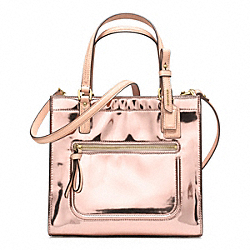 COACH POPPY MIRROR METALLIC MINI BOX TOTE - LIGHT GOLD/ROSE GOLD - F25076