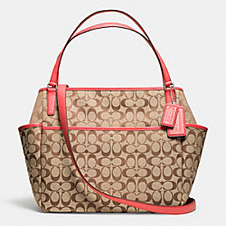 COACH SIGNATURE C BABY BAG TOTE - SILVER/KHAKI/LOVE RED - F25142