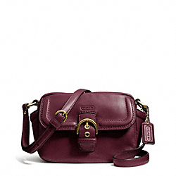 CAMPBELL LEATHER CAMERA BAG - f25150 - BRASS/BORDEAUX