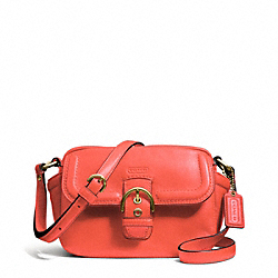 COACH CAMPBELL LEATHER CAMERA BAG - BRASS/HOT ORANGE - F25150