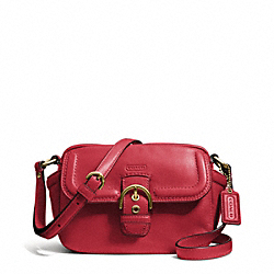 COACH CAMPBELL LEATHER CAMERA BAG - BRASS/CORAL RED - F25150