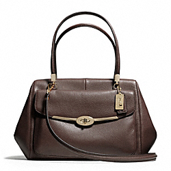 COACH MADISON MADELINE EAST/WEST SATCHEL IN LEATHER - LIGHT GOLD/MIDNIGHT OAK - F25166