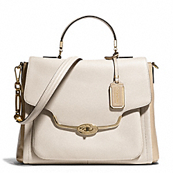 COACH MADISON SPECTATOR SAFFIANO SADIE FLAP SATCHEL - LIGHT GOLD/PARCHMENT - F25167