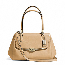 COACH MADISON SMALL LEATHER MADELINE EAST/WEST SATCHEL - LIGHT GOLD/CAMEL - F25169