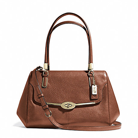 COACH MADISON SMALL LEATHER MADELINE EAST/WEST SATCHEL - LIGHT GOLD/CHESTNUT - f25169