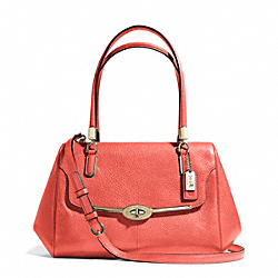 MADISON SMALL MADELINE EAST/WEST SATCHEL IN LEATHER - LIGHT GOLD/VERMILLIGHT GOLDON - COACH F25169