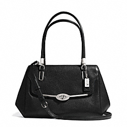 COACH MADISON SMALL LEATHER MADELINE EAST/WEST SATCHEL - SILVER/BLACK - F25169