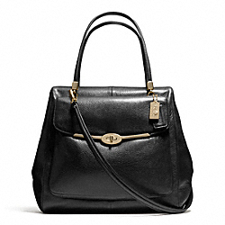 COACH MADISON LEATHER NORTH/SOUTH SATCHEL - LIGHT GOLD/BLACK - F25170