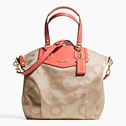 COACH ASHLEY DOTTED OP ART NORTH/SOUTH SATCHEL - ONE COLOR - F25183