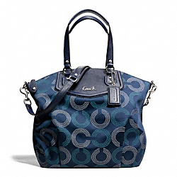 COACH ASHLEY DOTTED OP ART NORTH/SOUTH SATCHEL - SILVER/NAVY/DEEP INK - F25183