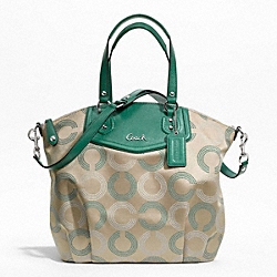 COACH ASHLEY DOTTED OP ART NORTH/SOUTH SATCHEL - SILVER/KHAKI/AEGEAN - F25183