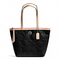 COACH SIGNATURE STRIPE EMBOSSED PATENT TOTE - SILVER/BLACK/TAN - F25187