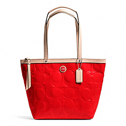 COACH SIGNATURE STRIPE EMBOSSED PATENT TOTE - SILVER/VERMILLION/TAN - F25187