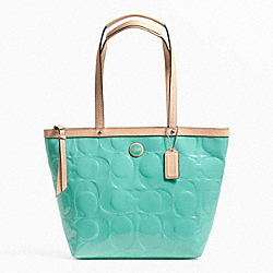 COACH SIGNATURE STRIPE EMBOSSED PATENT TOTE - SILVER/JEWEL GREEN/TAN - F25187