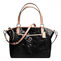 COACH SIGNATURE STRIPE EMBOSSED PATENT POCKET TOTE - SILVER/BLACK/TAN - F25188