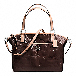 COACH SIGNATURE STRIPE EMBOSSED PATENT POCKET TOTE - SILVER/BROWN/TAN - F25188