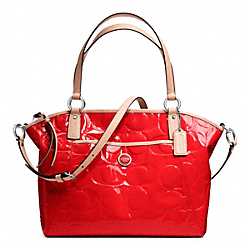 COACH SIGNATURE STRIPE EMBOSSED PATENT POCKET TOTE - SILVER/VERMILLION/TAN - F25188