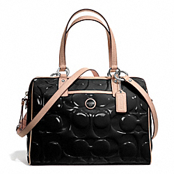COACH SIGNATURE STRIPE EMBOSSED PATENT SATCHEL - ONE COLOR - F25189