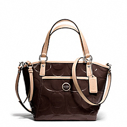 COACH SIGNATURE STRIPE EMBOSSED PATENT SMALL POCKET TOTE - ONE COLOR - F25190