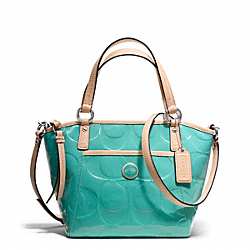 COACH SIGNATURE STRIPE EMBOSSED PATENT SMALL POCKET TOTE - SILVER/JEWEL GREEN/TAN - F25190