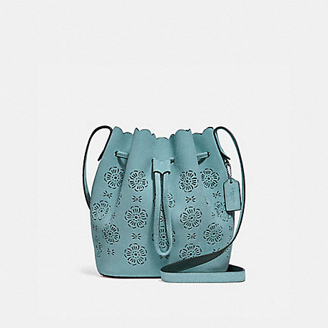 COACH BUCKET BAG 18 WITH CUT OUT TEA ROSE - MARINE/SILVER - F25193