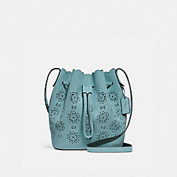 COACH BUCKET BAG 18 WITH CUT OUT TEA ROSE - SILVER/MARINE - F25193
