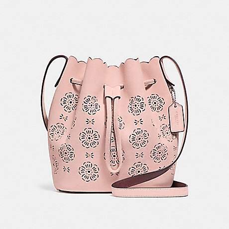 COACH BUCKET BAG 18 WITH CUT OUT TEA ROSE - PEONY/SILVER - F25193