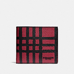 COACH DOUBLE BILLFOLD WALLET WITH WILD PLAID PRINT - CRIMSON/BLACK PLAID - F25196