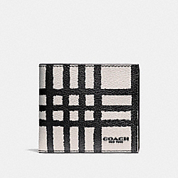 COACH DOUBLE BILLFOLD WALLET WITH WILD PLAID PRINT - CHALK/BLACK PLAID - F25196