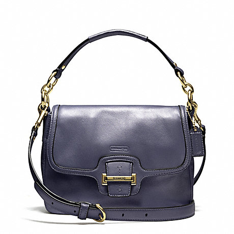 COACH f25206 TAYLOR LEATHER FLAP CROSSBODY BRASS/MIDNIGHT