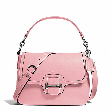 COACH f25206 TAYLOR LEATHER FLAP CROSSBODY SILVER/PINK TULLE
