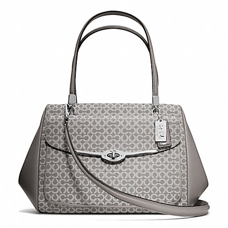 COACH f25212 MADISON OP ART NEEDLEPOINT MADELINE EAST/WEST SATCHEL SILVER/LIGHT GREY