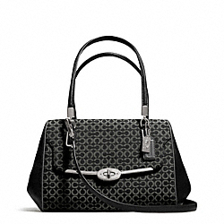 COACH MADISON NEEDLEPOINT OP ART SMALL MADELINE EAST/WEST SATCHEL - SILVER/BLACK - F25215