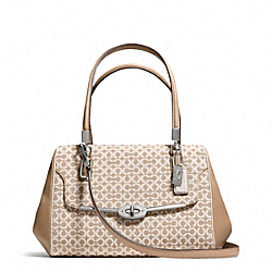 COACH MADISON NEEDLEPOINT OP ART SMALL MADELINE EAST/WEST SATCHEL - SILVER/WARM KHAKI - F25215