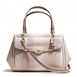 COACH MADISON EMBOSSED LIZARD LARGE MADELINE EAST/WEST SATCHEL - LIGHT GOLD/BEIGE - F25236