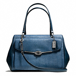 COACH MADISON EMBOSSED LIZARD LARGE MADELINE EAST/WEST SATCHEL - QB/INDIGO - F25236