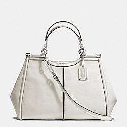 COACH MADISON TEXTURED LEATHER  CAROLINE SATCHEL - SILVER/PARCHMENT - F25245