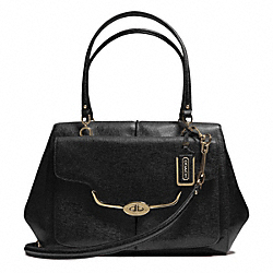 COACH MADISON TEXTURED LEATHER LARGE MADELINE EAST/WEST SATCHEL - LIGHT GOLD/BLACK - F25246