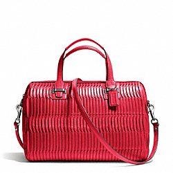COACH TAYLOR GATHERED LEATHER SATCHEL - SILVER/RED - F25250