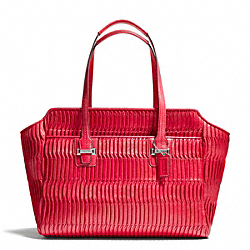 COACH TAYLOR GATHERED LEATHER ALEXIS CARRYALL - SILVER/RED - F25252