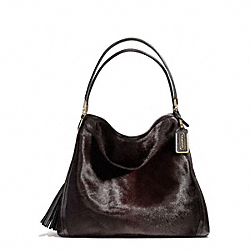 COACH MADISON MIXED HAIRCALF PHOEBE SHOULDER BAG - LIGHT GOLD/ESPRESSO - F25253