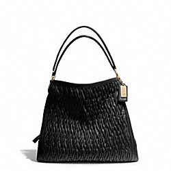 COACH MADISON GATHERED TWIST LEATHER PHOEBE SHOULDER BAG - LIGHT GOLD/BLACK - F25260