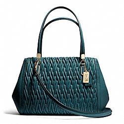 COACH MADISON GATHERED TWIST LEATHER MADELINE EAST/WEST SATCHEL - LIGHT GOLD/DK TEAL - F25265