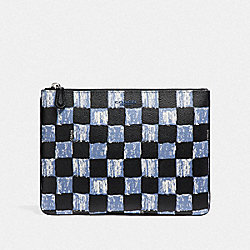 COACH MEDIUM POUCH WITH GRAPHIC CHECKER PRINT - DUSK MULTI CHECKER - F25270