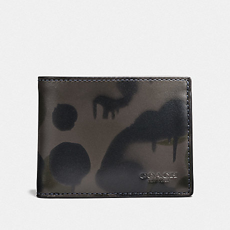 COACH BOXED SLIM BILLFOLD WALLET WITH WILD BEAST PRINT - CHARCOAL - F25273