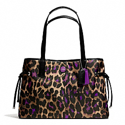 COACH SIGNATURE STRIPE OCELOT PRINT CARRYALL - ONE COLOR - F25281