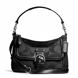 COACH CAMPBELL SIGNATURE SMALL CONVERTIBLE HOBO - SILVER/BLACK - F25289