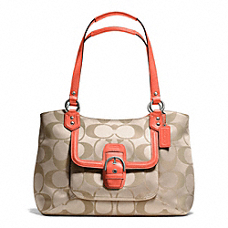 COACH CAMPBELL SIGNATURE BELLE CARRYALL - SILVER/LIGHT KHAKI/CORAL - F25294