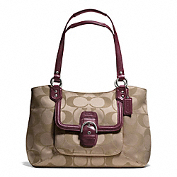 COACH CAMPBELL SIGNATURE BELLE CARRYALL - SILVER/KHAKI/BURGUNDY - F25294