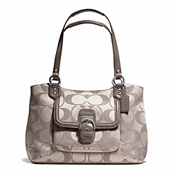 COACH CAMPBELL SIGNATURE BELLE CARRYALL - SILVER/TEA - F25294